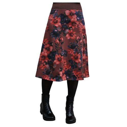Brown flowersea long skirt