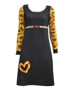 Figursyet kjole sort med solsikker