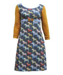 Figursyet kjole denim med dalarhest