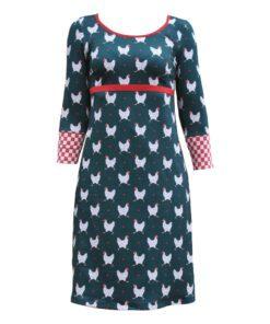Figursyet kjole petrol med høns